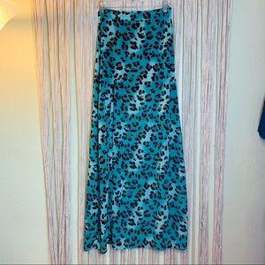 Show Me your MuMu Teal Leopard Maxi Skirt Size Sm